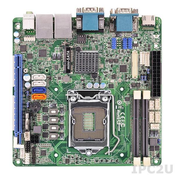 MANO881VGGA Процессорная плата Mini-ITX с поддержкой Intel Core i7/ i5/ i3/ Celeron, LGA1150, HDMI/VGA/LVDS, 2x10/100/1000Mb, USB 3.0
