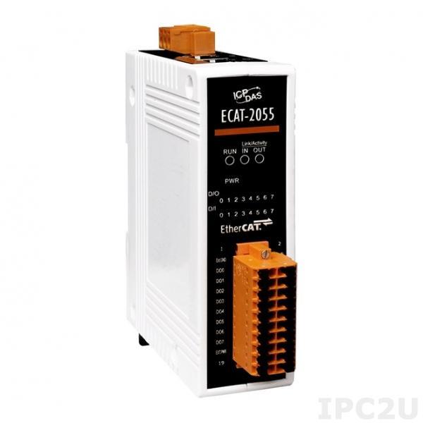 ECAT-2055 Модуль ввода-вывода, 8 каналов дискретного ввода, 8 каналов дискретного вывода, EtherCAT