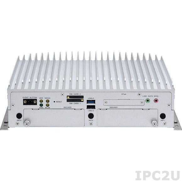"VTC-7200-BK Встраиваемый компьютер для транспорта, Intel Core i3-4010U 1.7ГГц, 2Гб DDR3, модуль GPS, VGA, DisplayPort, 2xGbit LAN, 2xRS232, RS232/422/485, 2xUSB 3.0, 2xUSB 2.0, 4xDI/4DO, Audio, CFast, отсеки 2x2.5"" SATA, 4xMini PCIexpress"