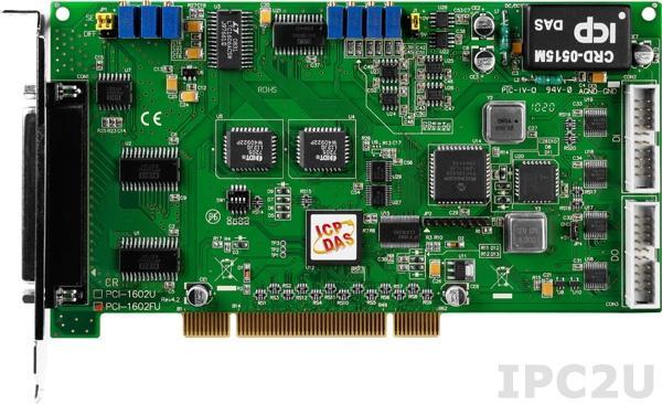 PCI-1602FU Многофункциональный адаптер Universal PCI, 32SE/16D каналов АЦП, FIFO, 2 канала ЦАП, 16DI, 16DO, таймер, разъем СА-4002x1