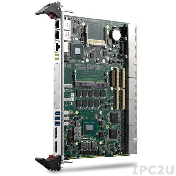 cPCI-6520/3612Q/M0-4 Процессорная плата 4HP CPCI-6520 с Intel Corei7-3612QE процессором и 4 Гб памяти SODIMM модуль с 2 xGbE, 3 xUSB3.0, COM, 2 XDP, SATA, CF и PMC / XMC