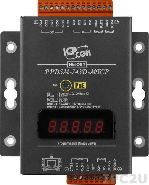 PPDSM-743D-MTCP Программируемый Ethernet сервер последовательных интерфейсов, 3xRS-232, 1xRS-485, Power over Ethernet, Modbus, LED-дисплей, металлический корпус