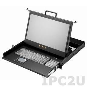"""AMK501-17UBD 1U консоль для 19"""" стойки 17.3"""" TFT LCD монитор, 1600x900, клавиатура, VGA, 1.8м кабель KVM, 1 порт USB K/B, Touchpad, одиночные направляющие, стальной корпус, 24...48В DC"""