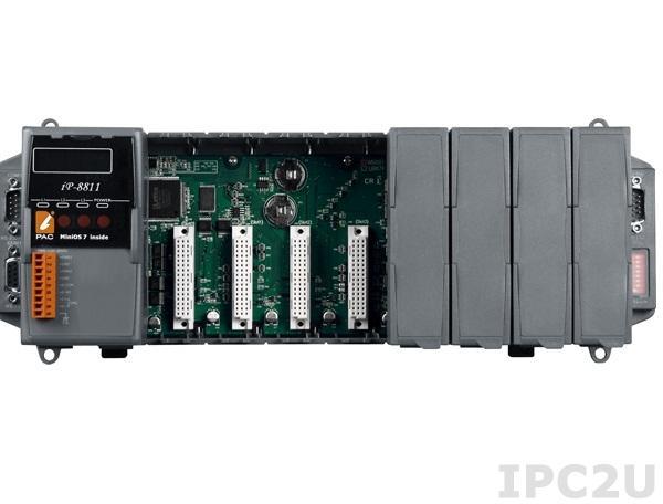 iP-8811 PC-совместимый промышленный контроллер 80МГц, 512кб SRAM, 512кб Flash, 2xRS232, 1xRS485, 1xRS232/485, 7-сегментный индикатор, 8 слотов расширения, Mini OS7