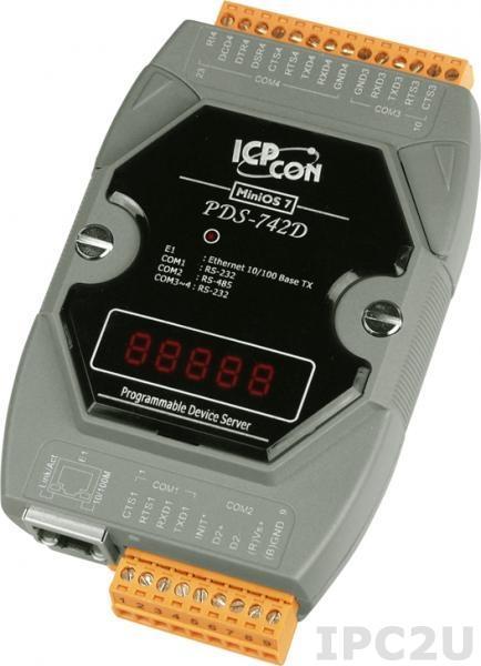 PDS-742D Программируемый Ethernet сервер последовательных интерфейсов, 3xRS-232, 1xRS-485, 7 - сегментный индикатор