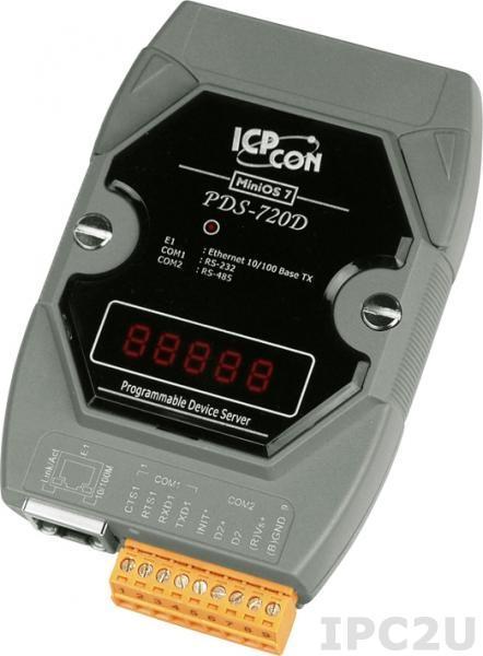 PDS-720D Программируемый Ethernet сервер последовательных интерфейсов, 1xRS-232, 1xRS-485, 7 - сегментный индикатор