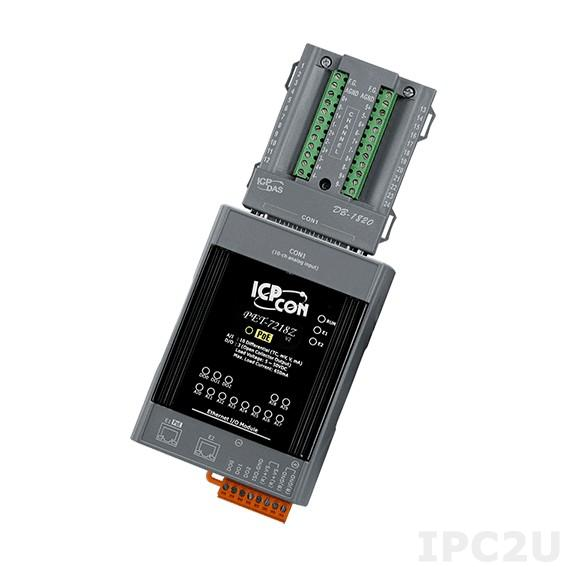 PET-7218Z/S Модуль ввода-вывода, 10 каналов ввода сигнала с термопар / 5 каналов дискретного вывода, 2xEthernet, PoE, DB-1820 плата