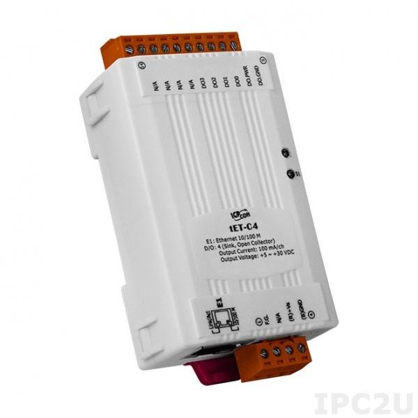 tET-C4 Mодуль дискретного вывода 4DO (NPN, Sink), Ethernet 10/100