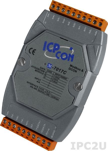 M-7017C Модуль ввода, 8 каналов аналогового ввода, -20...+20 mA, Modbus RTU