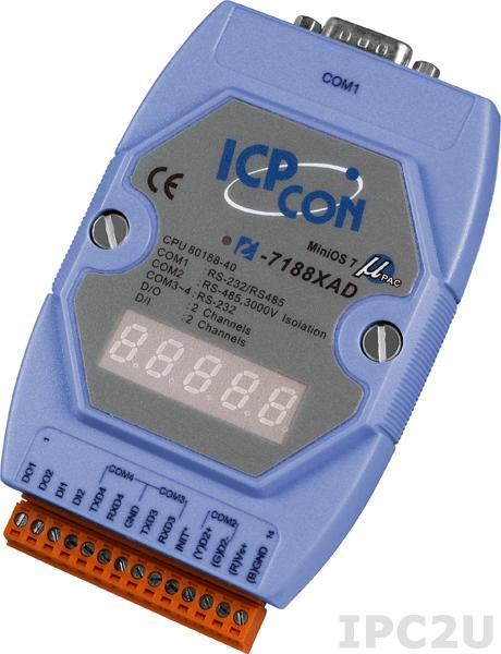 I-7188XAD PC-совместимый промышленный контроллер 40МГц, 512кб Flash, 512кб SRAM, шина расширения, 2xDI/2xDO, 2xRS232, 1xRS485, 1xRS232/485, 7-сегментный индикатор, MiniOS7, кабель CA-0910x1