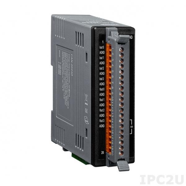 CAN-2024D Модуль вывода, 4 канала аналогового вывода, 14 бит, DeviceNet Slave