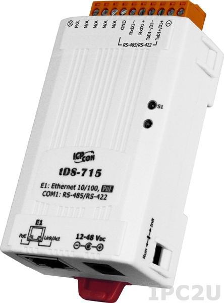 tDS-715i Преобразователь RS-422/485 в Ethernet, 1xRS-422/RS-485 с изоляцией, PoE