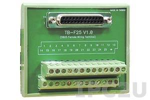 TB-F25 Плата клеммников с разъемом DB25 Female, монтаж на DIN-рейку