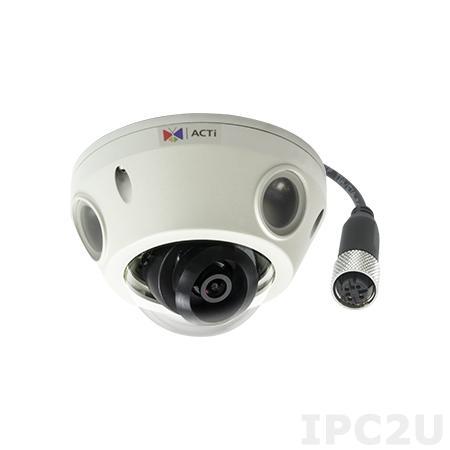 E928M 3 МП IP-камера, f2.93мм/F2.0, H.264, 1080p/30 кадр/сек, день/ночь, адапт. ИК подсветка, 2D+3D DNR, Аудио, Micro SDHC/SDXC, PoE, IP68, IK10, EN50155, M12, -20C...+50C