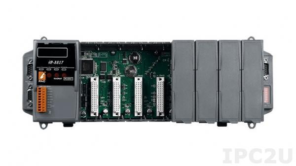 iP-8817 PC-совместимый промышленный контроллер 80МГц, 512кб Flash, 512кб SRAM, 2xRS232, 1xRS485, 1xRS232/485, 7-сегментный индикатор, Mini OS7, 8 слотов расширения, IsaGRAF