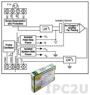 DSCA40-07 Нормализатор сигналов напряжения постоянного тока, вход 0...+10 мВ, выход 0...+10 В, полоса пропускания 3 кГц