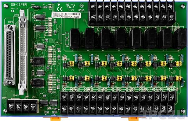 DB-16P8R/DIN Выносная плата 16 дискретных входов AC/DC с изоляцией и 8 реле с перекидными контактами(220Vac/30Vdc@5A), монтаж на DIN-рейку