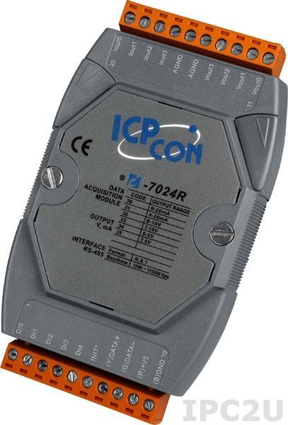 I-7024R Модуль ввода - вывода, 4 канала аналогового вывода - 14-бит / 5 каналов дискретного ввода, защита от перенапряжения