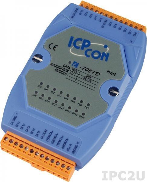I-7051D Модуль ввода, 16 каналов дискретного ввода, c изоляцией до 3750 В и индикацией