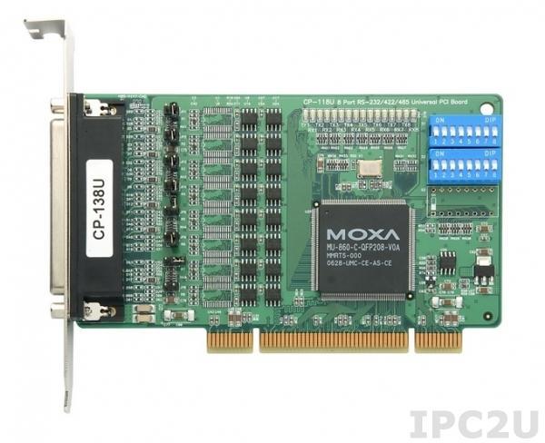 CP-118U 8-портовая плата RS-232/422/485 для шины Universal PCI, без кабеля
