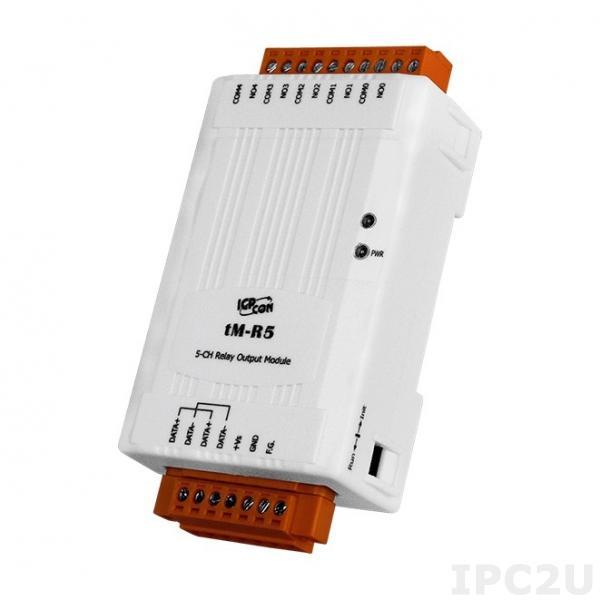 tM-R5 Модуль вывода, 5 релейных выходов, Modbus RTU/ASCII, DCON