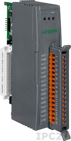 I-87024RW Высокопрофильный модуль вывода, 4 канала аналогового вывода, 14-бит, последовательная шина