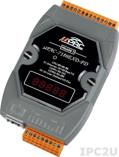 uPAC-7186EXD-FD PC-совместимый промышленный контроллер 80МГц, 512кб Flash, 512кб SRAM, 64Мб Flash-disc, 2xRS232/485, 10/100M Ethernet, MiniOS7, LED дисплей