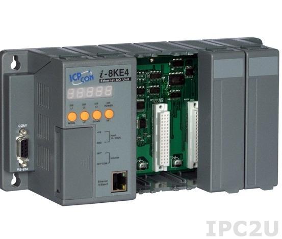 I-8KE4 Программируемая корзина расширения для модулей I-87K/I-8K, 80МГц, 512кб Flash, 512кб SRAM, 2xRS232, 1xRS232/485, Ethernet 10BaseT, 7-сегментный индикатор, Mini OS7, 4 слотов расширения, протокол DCON