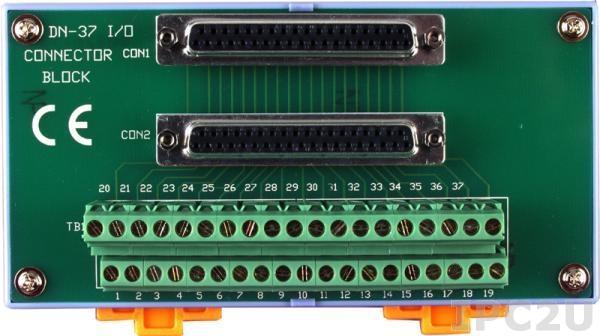 DN-37-A Плата клеммников с разъемом DB-37, монтаж на DIN-рейку с кабелем CA-3710A (37-pin Male-Female D-sub 1.0 m), до 50В