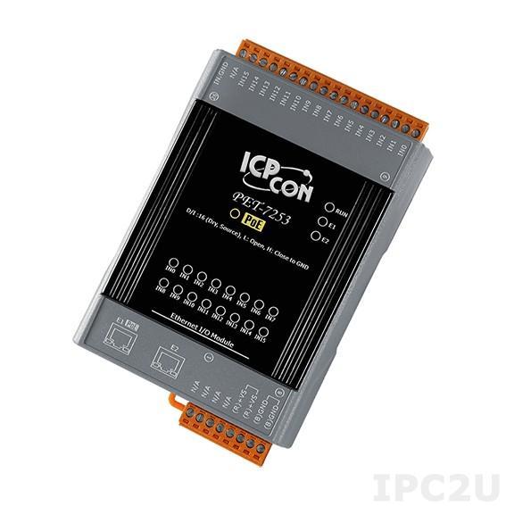 PET-7253 Модуль ввода, 16 каналов дискретного ввода, сухой контакт, 2xEthernet, PoE