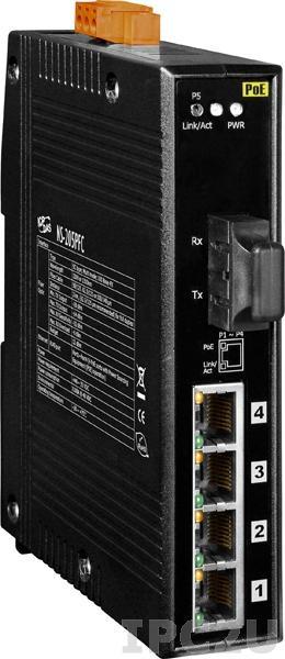 NS-205PFCS-60-24V Промышленный 5-портовый неуправляемый коммутатор: 4 порта 10/100BaseT(X) c PoE IEEE 802.3af, 1 порт 100BaseFX (одномодовое волокно, дальность до 60 км, разъем SC), питание 24 В