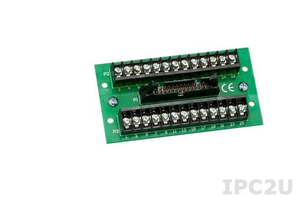 SCMXIF-DIN Универсальная клеммная плата, 1x26 разъем для кабеля с фиксацией, 26 винтовых клемм, до 50 В, монтаж на DIN-рейку