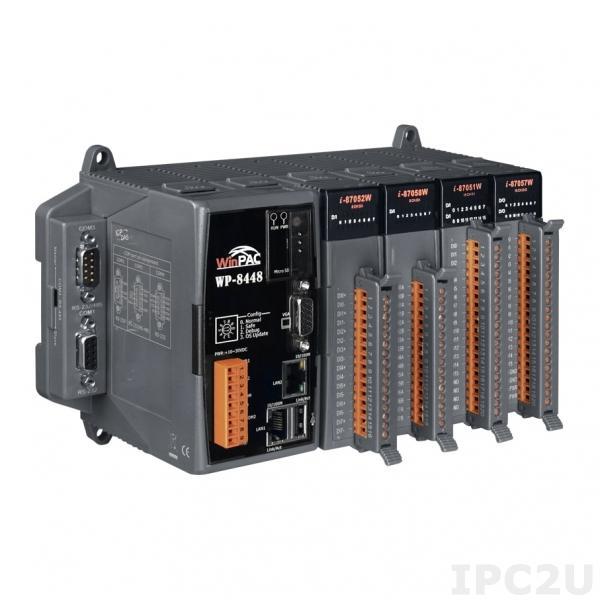 WP-8448-EN PC-совместимый промышленный контроллер PXA270 520МГц, 128Mб SDRAM, 96Mб Flash, 2xRS-232, 1xRS-485, 1xRS-232/485, 2xEthernet, 4 слота расширения, Win CE 5.0, Win-GRAF