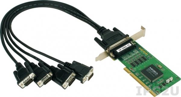 CP-104UL-DB9M 4-портовая низкопрофильная плата RS-232 для шины Universal PCI, с кабелем DB9M