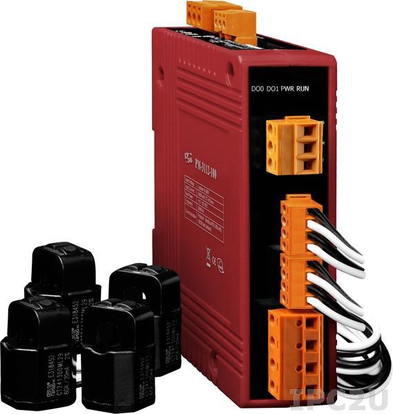 PM-3114-100 4-канальный, 1-фазный компактный измеритель напряжения и тока, CT:4pcs, кабель 10мм (0-60A), до 300 В, 50/60Гц, Modbus RTU
