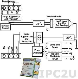 DSCT36-02 Нормализатор сигналов потенциометра, вход 0...500 Ом, выход 4...20 мА
