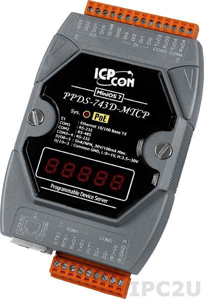 PPDS-743D-MTCP Программируемый Ethernet сервер последовательных интерфейсов, шлюз Modbus TCP в Modbus RTU/ASCII, 3xRS-232, 1xRS-485, 4xDI/4xDO, POE, 7 - сегментный индикатор