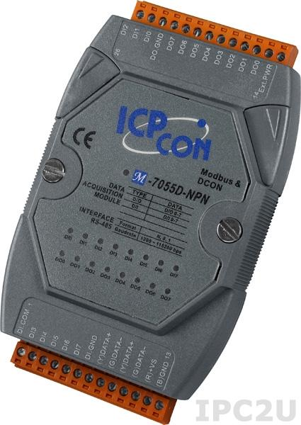 M-7055D-NPN Модуль ввода - вывода, 8 каналов дискретного ввода / 8 каналов дискретного вывода, с изоляцией до 3750В и индикацией, Modbus RTU