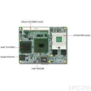 PCOM-B210VL Процессорный модуль под Intel Pentium M or Celeron M in mFCPGA корпусе, 915GME+ICH6, 82573L, DDR2 SDRAM, VGA, Fast Ethernet, SDVO, 4xSATA