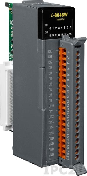 I-8046W Высокопрофильный модуль ввода, 16 каналов дискретного ввода, сухой контакт, с изоляцией до 3750В, параллельная шина