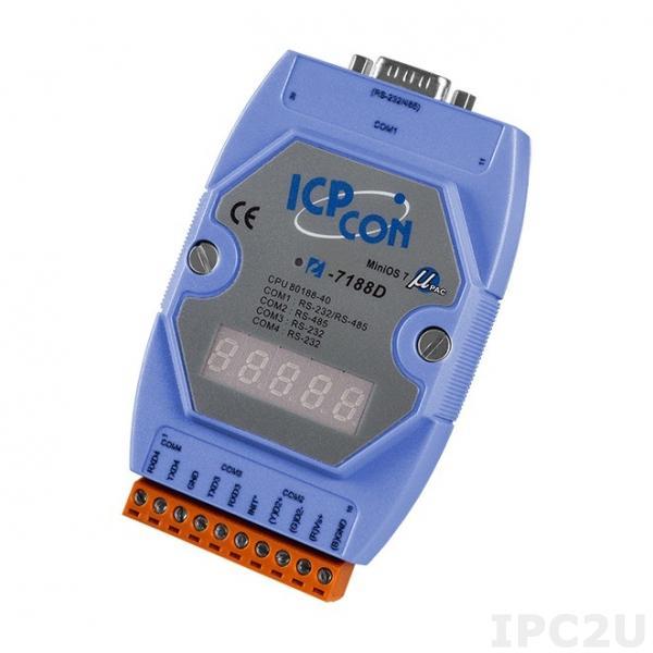 I-7188D/512 PC-совместимый промышленный контроллер 40МГц, 512кб Flash, 256кб SRAM, 2xRS232, 1xRS485, 1xRS232/485, 7-сегментный индикатор, MiniOS7, кабель CA-0910x1