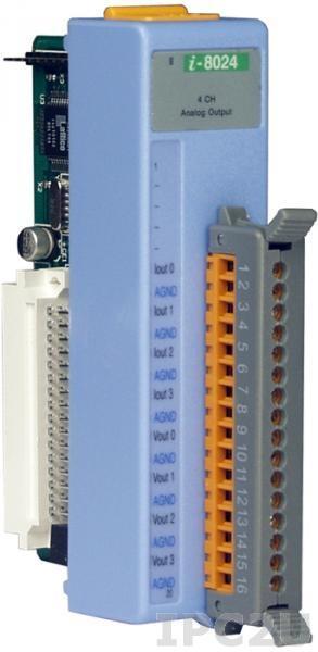 I-8024 Низкопрофильный модуль вывода, 4 канала аналогового вывода, 14-бит, параллельная шина
