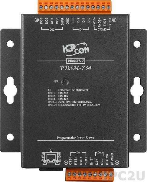 PDSM-734 Программируемый Ethernet сервер последовательных интерфейсов с 1 портом RS-232, 1 портом RS-485, 1 портом RS-422, 4 каналами дискретного ввода и 4 каналами дискретного вывода, металлический корпус