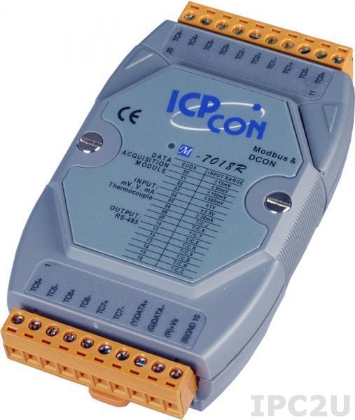 M-7018R Модуль ввода, 8 каналов аналогового ввода или сигнала с термопары: J. K. T. E. R. S.B. N. C. защита от перенапряжения, Modbus RTU
