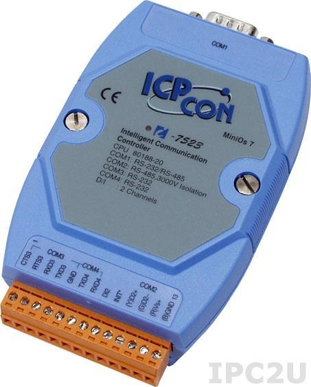 I-7523 Адресуемый преобразователь RS-485 в один порт RS-232/485 и два порта RS-232 с гальванической изоляцией, кабель CA-0910Fx1