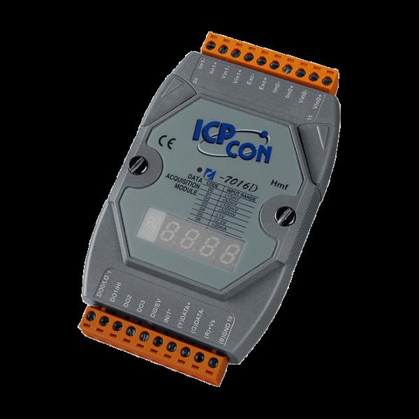 I-7016D Модуль ввода - вывода, 2 канала ввода сигнала с тензодатчика / 1 канал аналогового вывода / 1 канал дискретного ввода / 4 канала дискретного вывода, с индикацией
