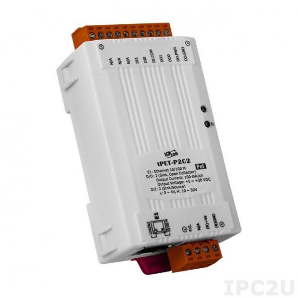 tPET-P2C2 Модуль Ethernet, 2 канала дискретного ввода, 2 канала дискретного вывода NPN, PoE